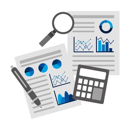 documents statistic data analysis financial analytics strategic report vector illustration