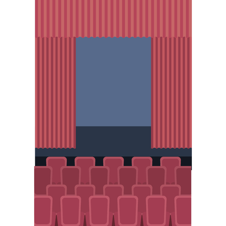 theater cinema curtains and seats vector illustration 向量圖像