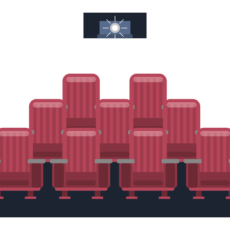 cinema film projector light seats vector illustration