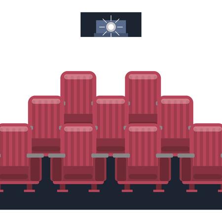 cinema film projector light seats vector illustration