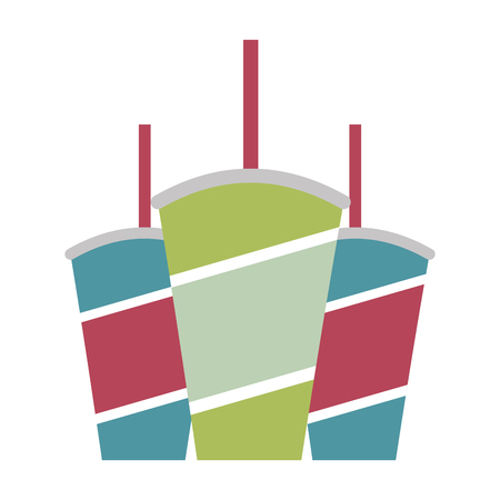 disposable paper cup sodas with straw vector illustration