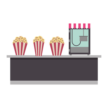 cinema bar counter machine bucket popcorn vector illustration