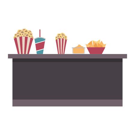 cinema bar counter buckets popcorn soda nachos food vector illustration
