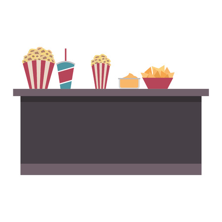 cinema bar counter buckets popcorn soda nachos food vector illustration