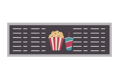 cinema menu board popcorn and soda vector illustration