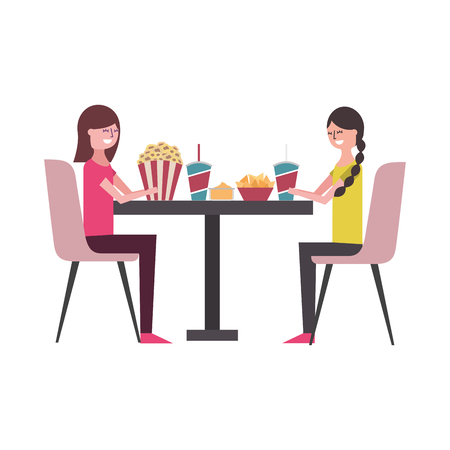 young women sitting on chairs with round table pop corn soda nachos vector illustration