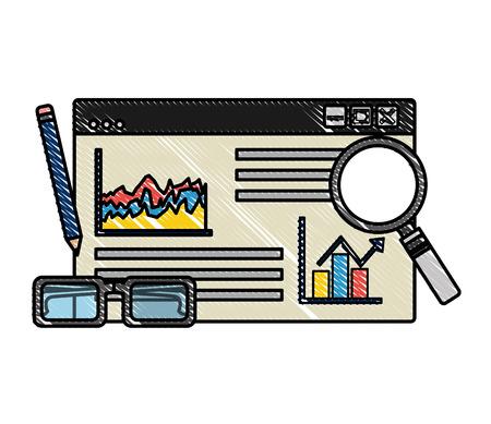 website page statistics analysis pencil glasses vector illustration