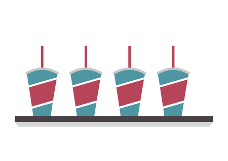 set of disposable paper cup soda with straw vector illustration Vectores