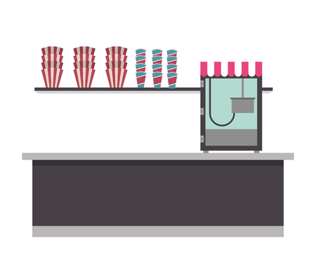 cinema bar counter machine pop corn vector illustration Stock fotó - 97909210