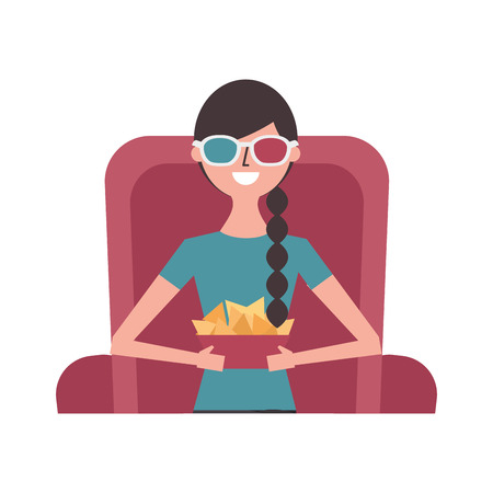 woman sitting on cinema 3d glasses snack nacho vector illustration