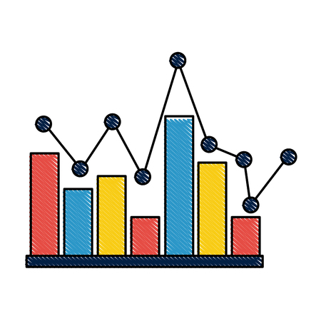 statistics bar graph pointed line design vector illustration