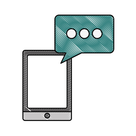smartphone device digital and speech bubble vector illustration