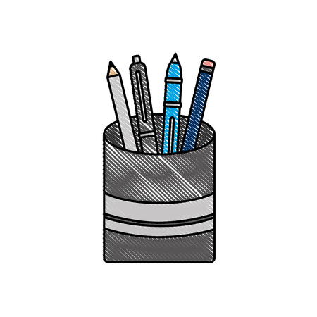 plastic cup with pencil pen supplies office vector illustration Ilustração