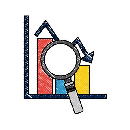 statistic bar graph arrow down crisis analysis vector illustration  イラスト・ベクター素材