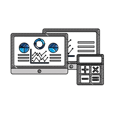 tablet computer statistics analysis data financial vector illustration Çizim