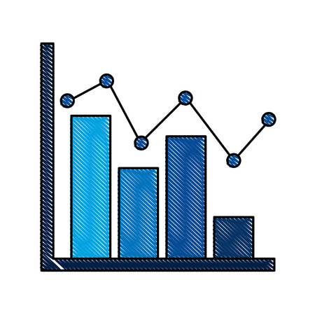statistic bar graph pointed line strategic scheme vector illustration