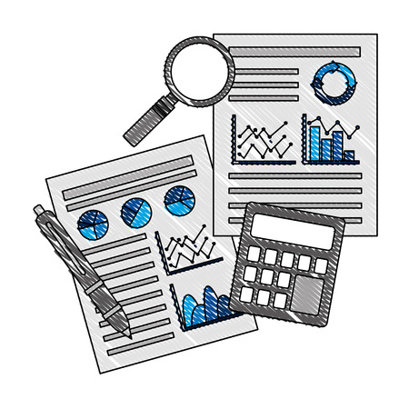 documents statistic data analysis financial analytics strategic report vector illustration