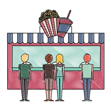 people cinema candy snack store vector illustration