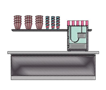 cinema bar counter machine pop corn vector illustration