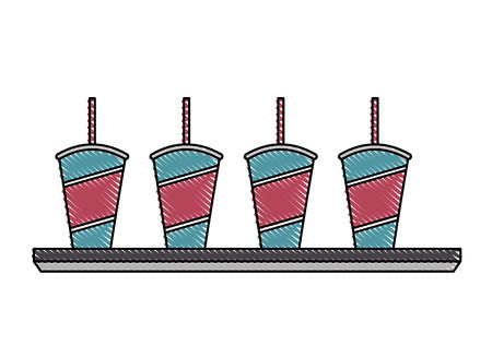 set of disposable paper cup soda with straw vector illustration Illustration