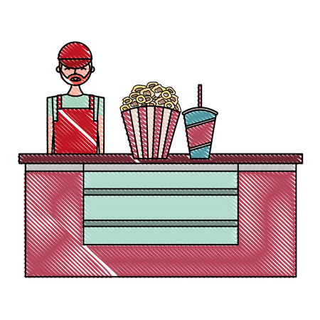 salesman cinema bar counter with pop corn soda vector illustration