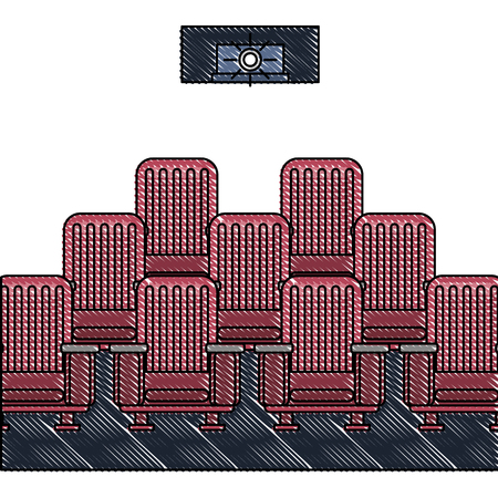 theater cinema curtains and seats vector illustration Illustration