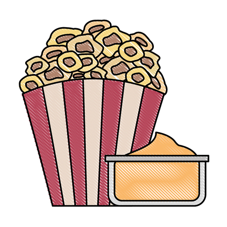 bucket pop corn cinema food image vector illustration Illustration