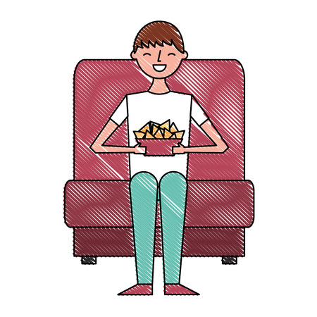 young man sitting in cinema seat with nacho vector illustration Illustration