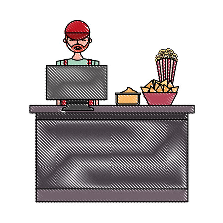 salesman cinema bar counter computer popcorn nacho and sauce vector illustration