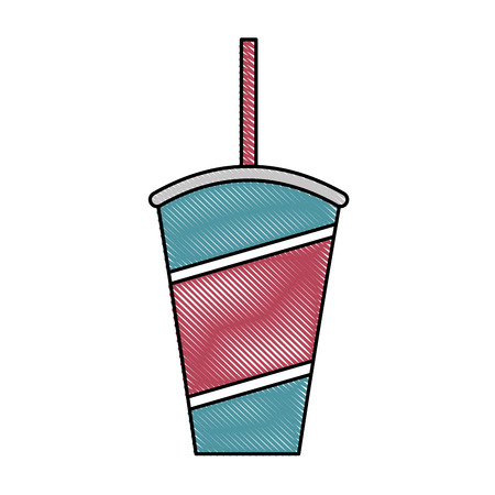 disposable fresh soda cup with straw vector illustration 向量圖像
