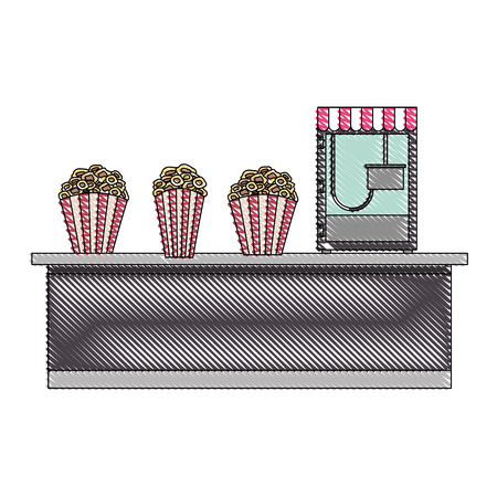 cinema bar counter machine bucket popcorn vector illustration Stock fotó - 97909496