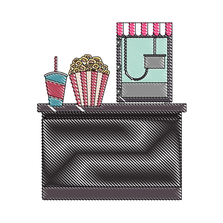 cinema bar counter machine make popcorn and bucket soda with straw vector illustration