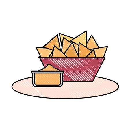 snack food nachos in bowl and sauce vector illustration Illustration
