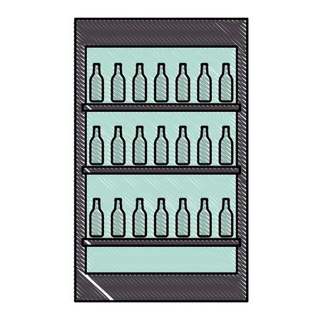 fridge with bottles drink beverages vector illustration