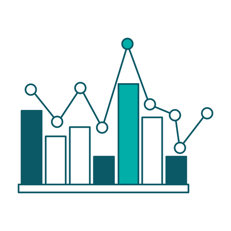 statistics bar graph pointed line design vector illustration green design