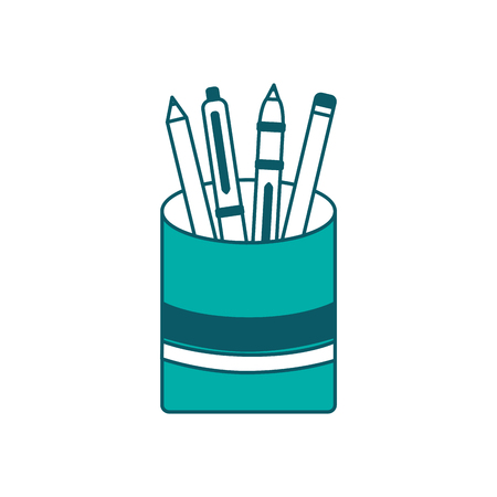 plastic cup with pencil pen supplies office vector illustration green design Ilustração