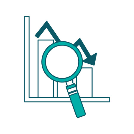 statistic bar graph arrow down crisis analysis vector illustration green design