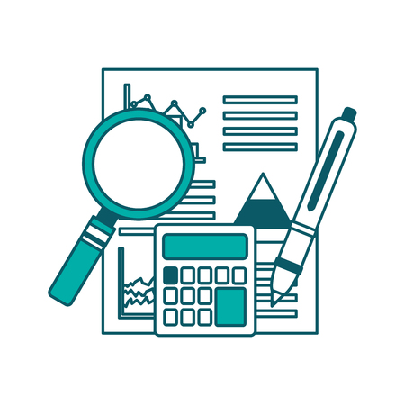 statistics analysis business financial report document calculator pen vector illustration green design