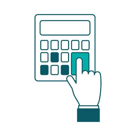 hand pressing calculator button financial vector illustration green design