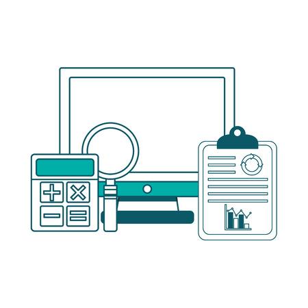computer klembord rekenmachine analyse statistiek grafiek vector illustratie groen ontwerp Stock Illustratie