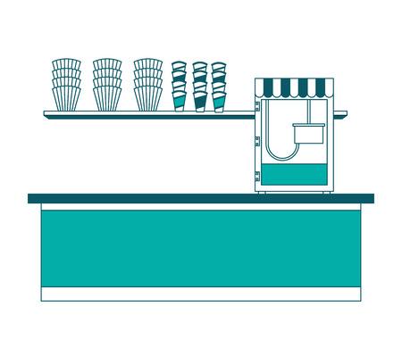 cinema bar counter machine pop corn vector illustration Stock fotó - 97909888