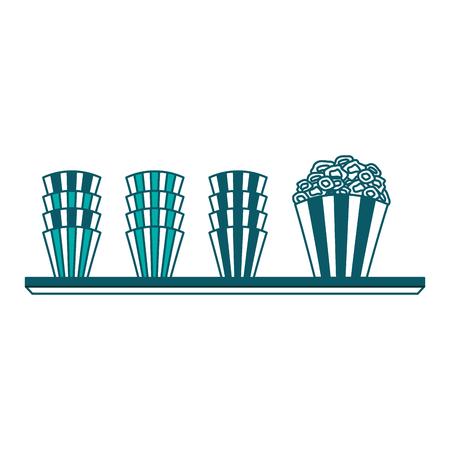 cinema shelf buckets pop corn vector illustration