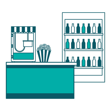 cinema bar counter machine popcorn and refrigerator sodas vector illustration