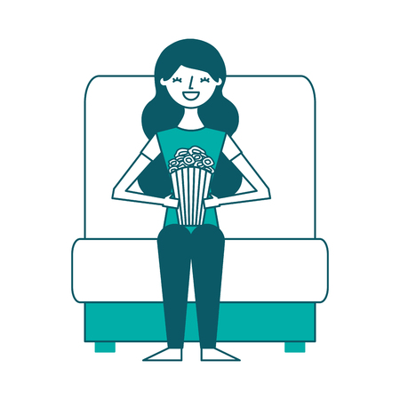 young woman in cinema chair with pop corn vector illustration Stok Fotoğraf - 97909942