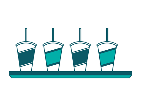 set of disposable paper cup soda with straw vector illustration Archivio Fotografico - 97909944