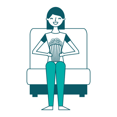 giovane donna nella sedia del cinema con illustrazione vettoriale pop corn