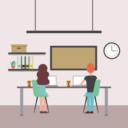 Vrouw en man achterover te leunen met tafel en stoelen werkende laptops office board klok vector illustratie Stockfoto - 97909990