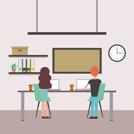 woman and man sitting back with table and chairs working laptops office board clock vector illustration