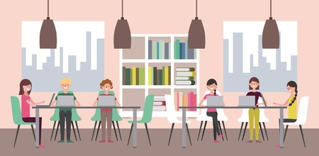 people in library with bookshelves and tables chairs windows vector illustration