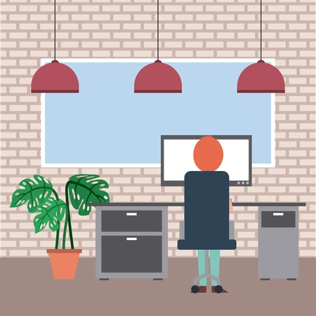 man sitting in the chair back view working in computer plant board lamp and brick wall vector illustration